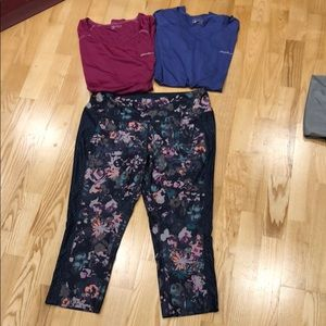 Eddie Bauer work out capris and t shirts